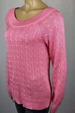 Ralph Lauren Pink Scoop Round Neck Cable Knit Sweater NWT