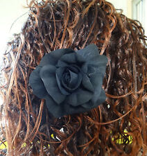 """TRENDY GIRL black ROSE CORSAGE 4"""" cloth pin/pony tail holder/Hair Clip"""