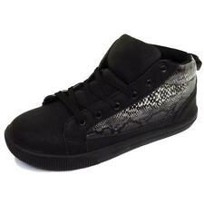 LADIES GIRLS FLAT BLACK SNAKE LACE HI-TOP TRAINER PUMP PLIMSOLLS SHOES SIZE 3-8