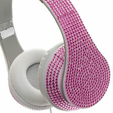 Crystal Case Foldable Bling DJ Stereo Over Ear Headphones w/ Handsfree Mic