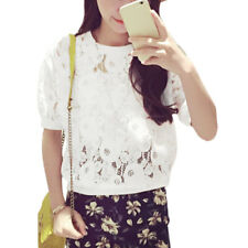 Women Round Neck Short Sleeves Semi Sheer Lace T-Shirts