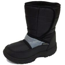 GIRLS BOYS KIDS CHILDRENS BLACK GREY WINTER WARM FUR SNOW RAIN SKI BOOTS UK 10-2