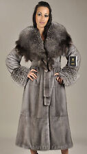Blue Iris Full Length Mink Coat with Fox collar and cuffs