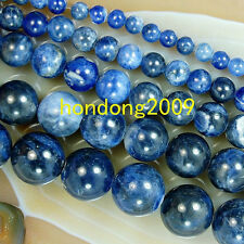 """4/6/8/10/12mm Natural Blue Sodalite Round Loose Beads 15"""" Choose Size"""