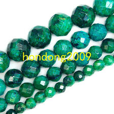 "6/8/10/12mm Faceted Azurite Chrysocolla Stone Round Loose Beads 15"" Choose Size"