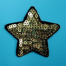 Star Sequins Iron on Sew Patch Applique Badge Embroidered Biker Motor Cute Gold