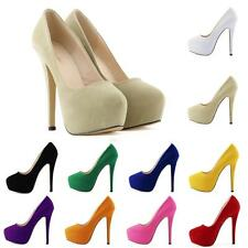 Womens Velvet Concealed Platform Ladies Stiletto High Heels Classic Pumps Court
