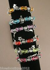Stretch translucent bead and silver charm bracelet pink/red/green/purple/blue