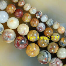 """4/6/8/10/12mm Natural Crazy Lace Agate Round Loose Beads 15"""" Choose Size"""