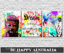 BUDDHA WITH QUOTE SET OF 3 PRINTS ON STRETCHED CANVAS each print 25cmx30cmx2cm