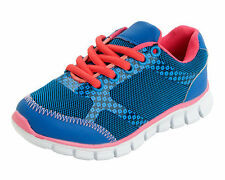 Childrens Reflex Royal Blue/Mid Pink Lace Up Trainers H2346