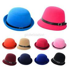 Hot Womens Girls Fedora Wool Felt Wide Brim Bowler Hat Bucket Cap Multicolor G16