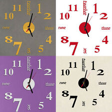 Mini Modern DIY Alloy+Acryli Wall Clock 3D Sticker Design Home Office Room Decor