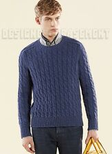 GUCCI Mens chunky Blue CABLE knit wool/ ALPACA blend sweater NWT Authentic $825!