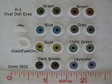 8 PAIR DOLL EYES Oval Plastic 5mm Iris  For Puppet, Troll, Jewelry, Doll (A-1)