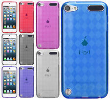 For iPod Touch 5th 6th Gen TPU CANDY Gel Flexi Skin Plaid Case +Screen Guard