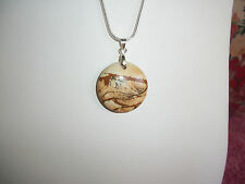 "Beautiful Black Tan Brown Picture Jasper 1"" Pendant Necklace 18"" Snake Chain...4"