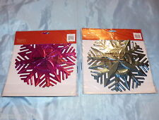 LARGE FOIL CHRISTMAS CEILING GARLAND 6 DESIGNS GOLD RED SILVER PURPLE PINK BLUE