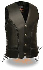 Men's Black Leather Classic Motorcycle Vest with Side Laces & Braided Details
