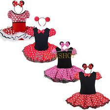 Kid Girl Baby Toddler Minnie Mouse Party Costume Ballet Tutu Dress + Ears H8-126
