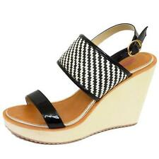 LADIES DOLCIS BLACK WHITE WEDGES PLATFORM SANDALS PEEP-TOE ANKLE SHOES SIZE 3-8