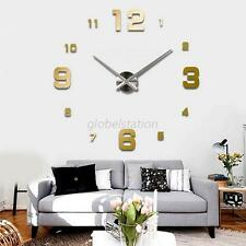 Fashion DIY Large Wall Clock 3D Mirror Surface Sticker Modern Home Office Decor
