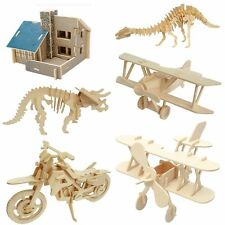 3D Wooden Puzzle Wood Craft Construction Kit Dinosaur Biplane Model Toy Gift