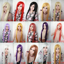 Fashion Cosplay Women Multicolor 100cm Long Straight Anime Synthetic Lolita Wig