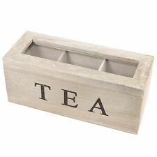 Gisela Graham Rustic 3 Compartment Tea Bag Box Caddy Storage Chest Shabby Chic