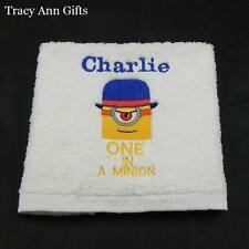 PERSONALISED ONE IN A MINION FACE CLOTHS/FLANNELS & TOWELS 100% COTTON