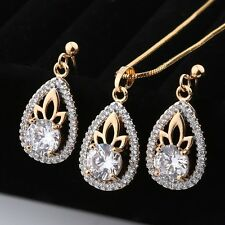 Fashion pendant jewelry sets 18k Gold filled sapphire crystal necklace earrings