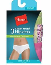 6 Hanes Women's Cotton Stretch Hipster Panties with ComfortSoft Waistband ET41AS