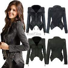 Women Studded Shoulder Notched Lapel Denim Jeans Tuxedo Coat Blazer Jacket S0BZ