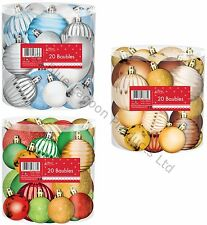 Pack of 20 Assorted Colours Christmas Tree Baubles Decorations Festive Red Gold