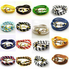 Fashion Multilayer Multi-color Rope Handmade Cuff Wristband Anchor Bracelet