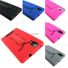For ZTE ZMax Z970 T-Mobile Impact Rugged Hybrid ID Card Holder Case w/Stand