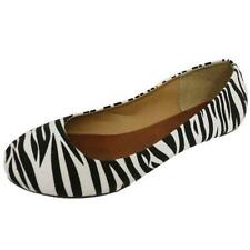 LADIES ZEBRA FLAT BLACK WHITE SLIP-ON BALLERINA PUMPS DOLLY COMFY SHOES SIZE 3-8