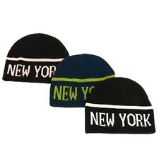 ADULTS UNISEX BLACK OR BLUE NEW YORK NY BEANIE PULL-ON SKI WINTER WARM KNIT HAT