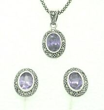 Amethyst Garnet Marcasite Pendant and Stud Earrings Sterling Silver 925 Silver