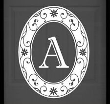 """New 21""""x28"""" White Oval MONOGRAM Static Cling Glass Windows & Front Doors DECALS"""