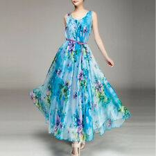 Fashion Womens Floral Chiffon Sleeveless Dress Summer Boho Beach Bohemian Dress
