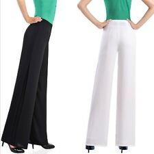 Elegant Women Chiffon Wide Leg Long Crop Pants Zipper Culottes OL Split Trousers