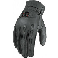 Icon 1000 Rimfire Leather Motorcycle Gloves - Gray - All Sizes