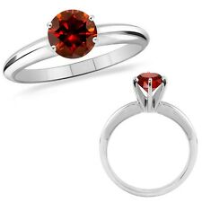 1 Carat Red Diamond Solitaire Engagement Wedding Promise Ring 14K White Gold
