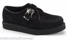 "Demonia Creeper 605 Black Suede 1"" Oxford Comfort Shoe Men 4-13 Skull Buckle"