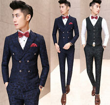Men's Retro Double Breasted Leaf Patterned Slim Fit Suit Jacket Waistcoat Pants