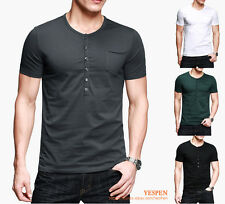 Slim Mens Tee Basic T-Shirt Low Neck Henley Short Sleeve Cotton Stretch 4 Colors