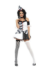 Mens/Womens Harlequin Jester Clown Circus Halloween Costume Ladies Fancy Dress
