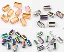 20/40PCS Faceted Cuboid Glass Crystal Charm Loose Spacer Beads Making 8X4MM DIY