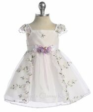 Lilac Flower Girl Baby Toddler Dress Pageant Wedding Easter Christmas Party 505